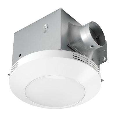 Decorative White 80 CFM Ceiling Mount Bathroom Exhaust Fan with LED Light
