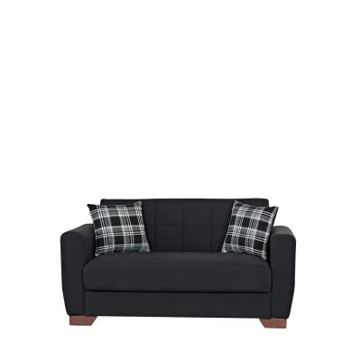 Barato Black Fabric Upholstery Convertible Love Seat with Storage