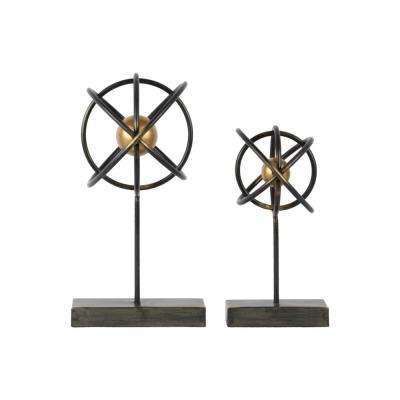 Rust Black Metal Decorative Tabletop Ornament (Set of 2)