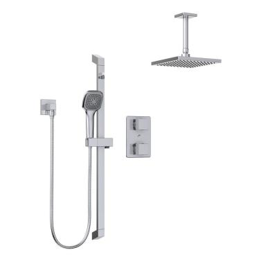Quadrato 1-Spray Square Hand Shower and Showerhead from Ceiling Combo Kit with Slide Bar and Valve in Polished Chrome