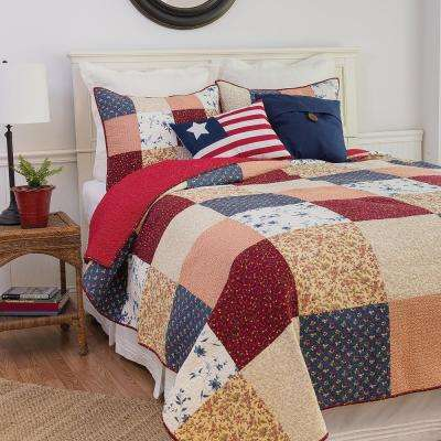 Red Liberty King Quilt Set