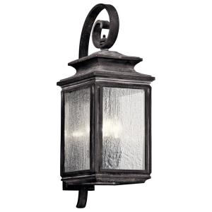 Wiscombe Park 4-Light Weathered Zinc Outdoor Wall Mount Sconce with Clear Seeded Glass
