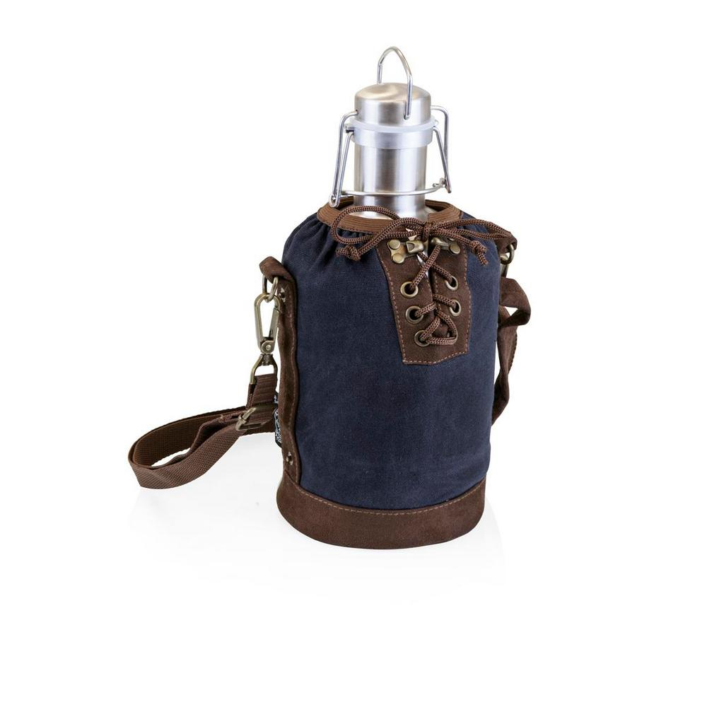 64 oz. Navy and Brown Insulated Growler Tote with Stainless Steel