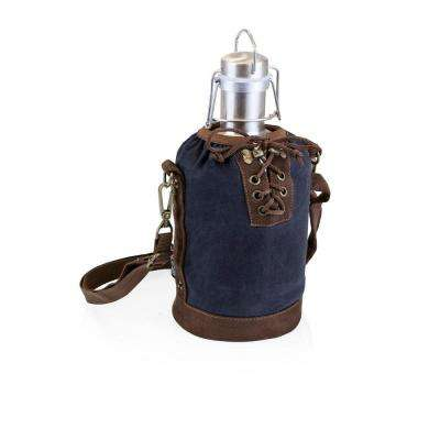 64 oz. Navy and Brown Insulated Growler Tote with Stainless Steel Growler
