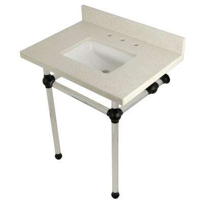 Square Washstand 30 in. Console Table in White Quartz with Acrylic Legs in Matte Black