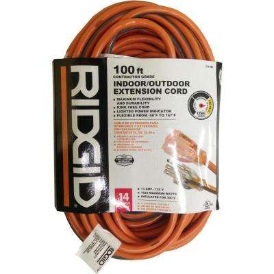 100 ft. 14/3 Extension Cord, Orange and Gray