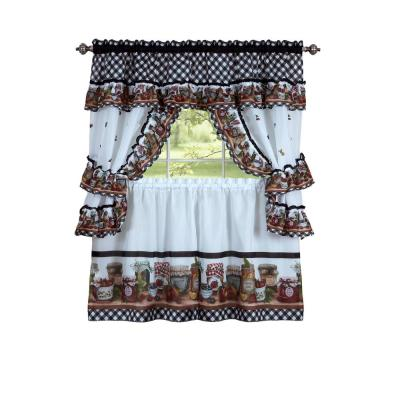 Mason Jars Black/White Polyester Light Filtering Rod Pocket Cottage Curtain Set 57 in. W x 36 in. L