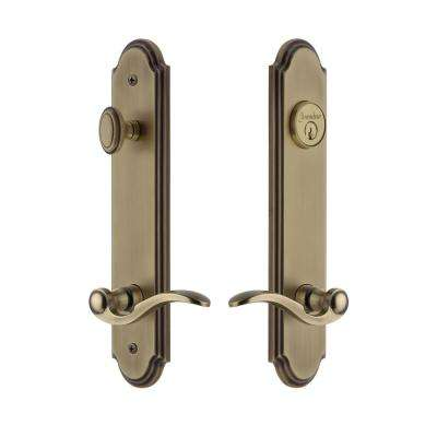 Arc Tall Plate 2-3/8 in. Backset Vintage Brass Door Handleset with Bellagio Door Lever