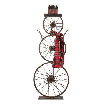 33.98 in. H Metal Bike Wheel Snowman with Plaid Scarf Porch Decor (KD)