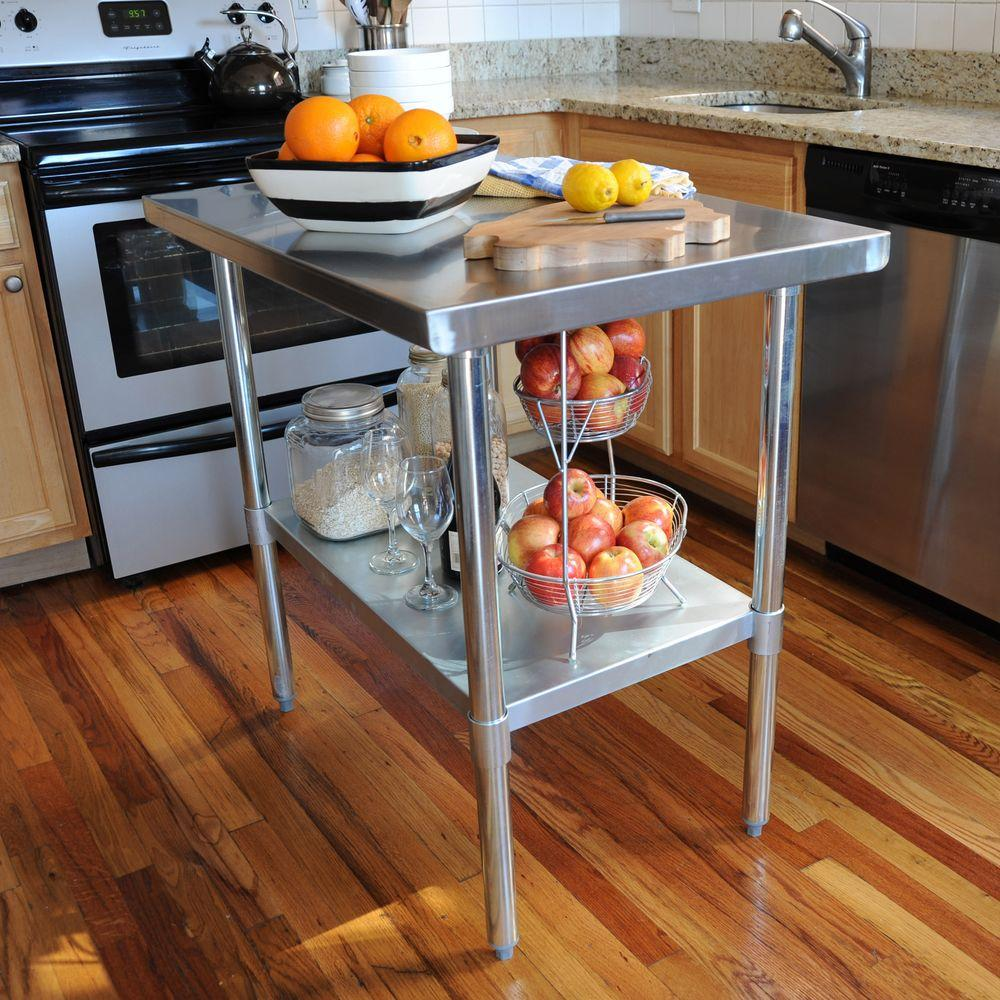 Sportsman stainless steel kitchen utility table sswtable the home depot Kitchen utility island