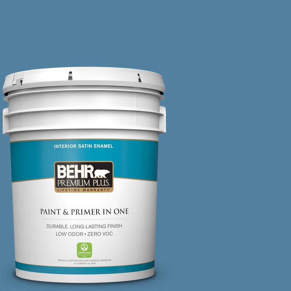 BEHR Premium Plus 5-gal. #BIC-38 Honest Blue Satin Enamel Interior Paint