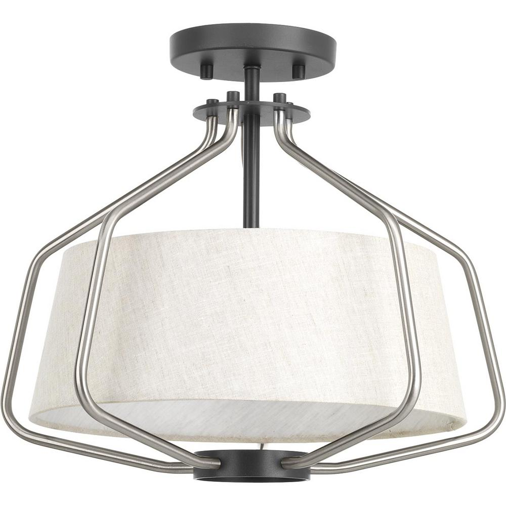 a2edd4e8152 Progress Lighting Hangar Collection 2-Light Brushed Nickel Semi-Flush Mount