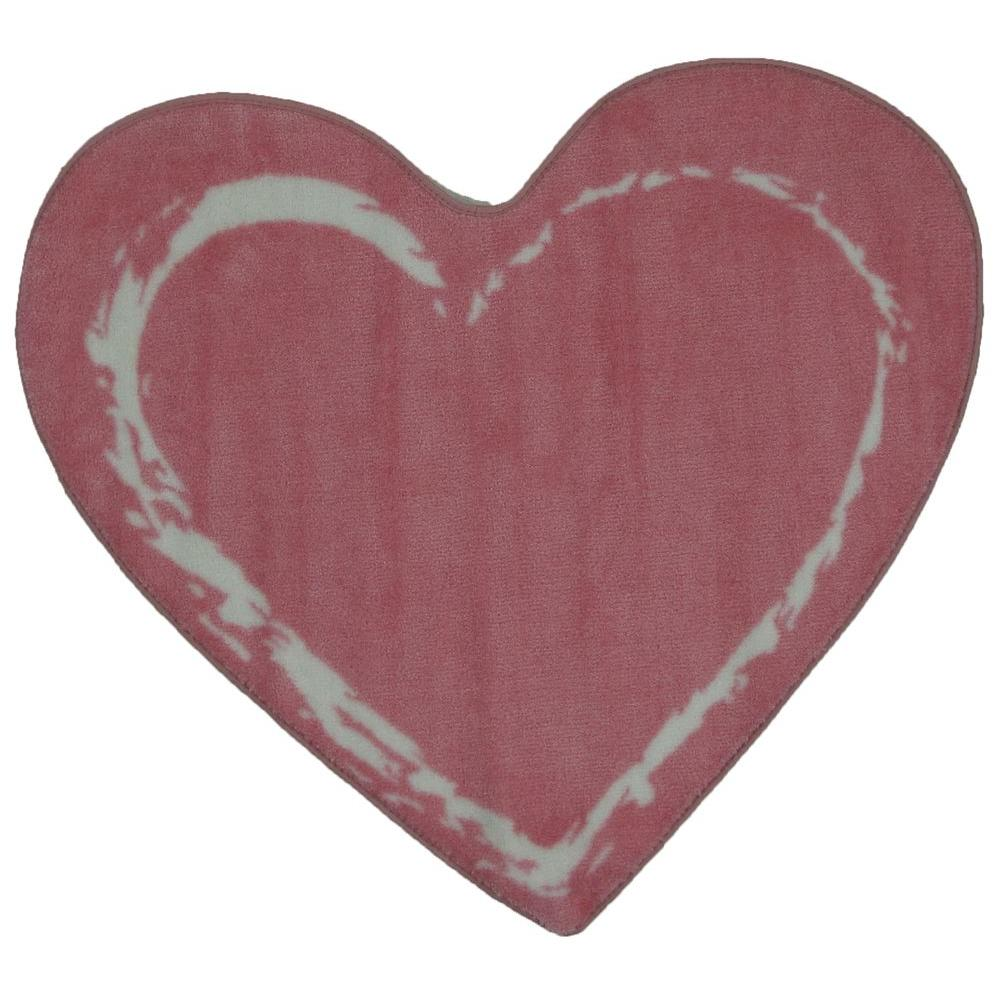 LA Rug Fun Time Shape Pink Heart 35 in. x 39 in. Area Rug