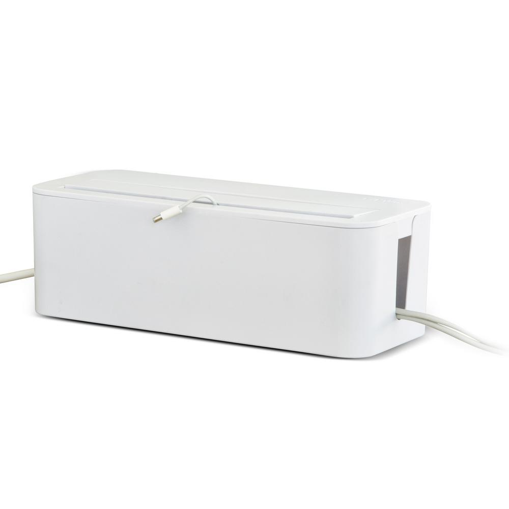 UT Wire In-Box Cable Organizing Management Box for Under Desk in White