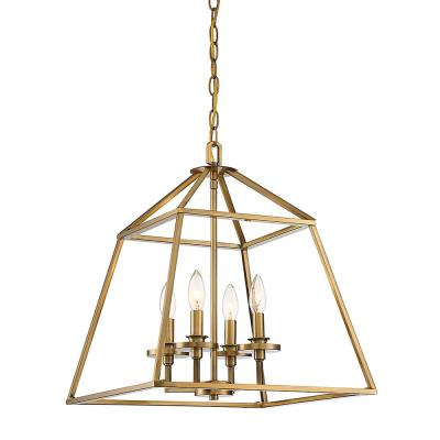 4-Light Warm Brass Pendant