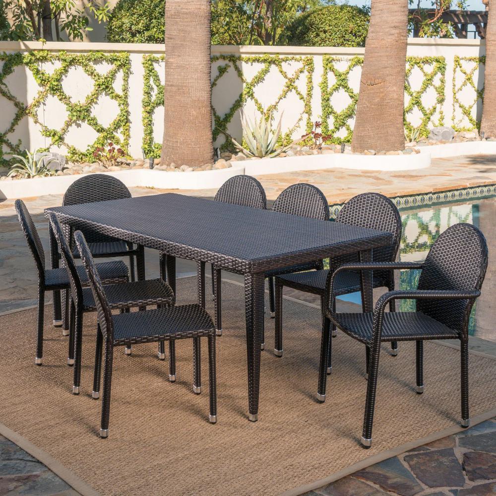 Antigua Multi-Brown 9-Piece Wicker Outdoor Dining Set