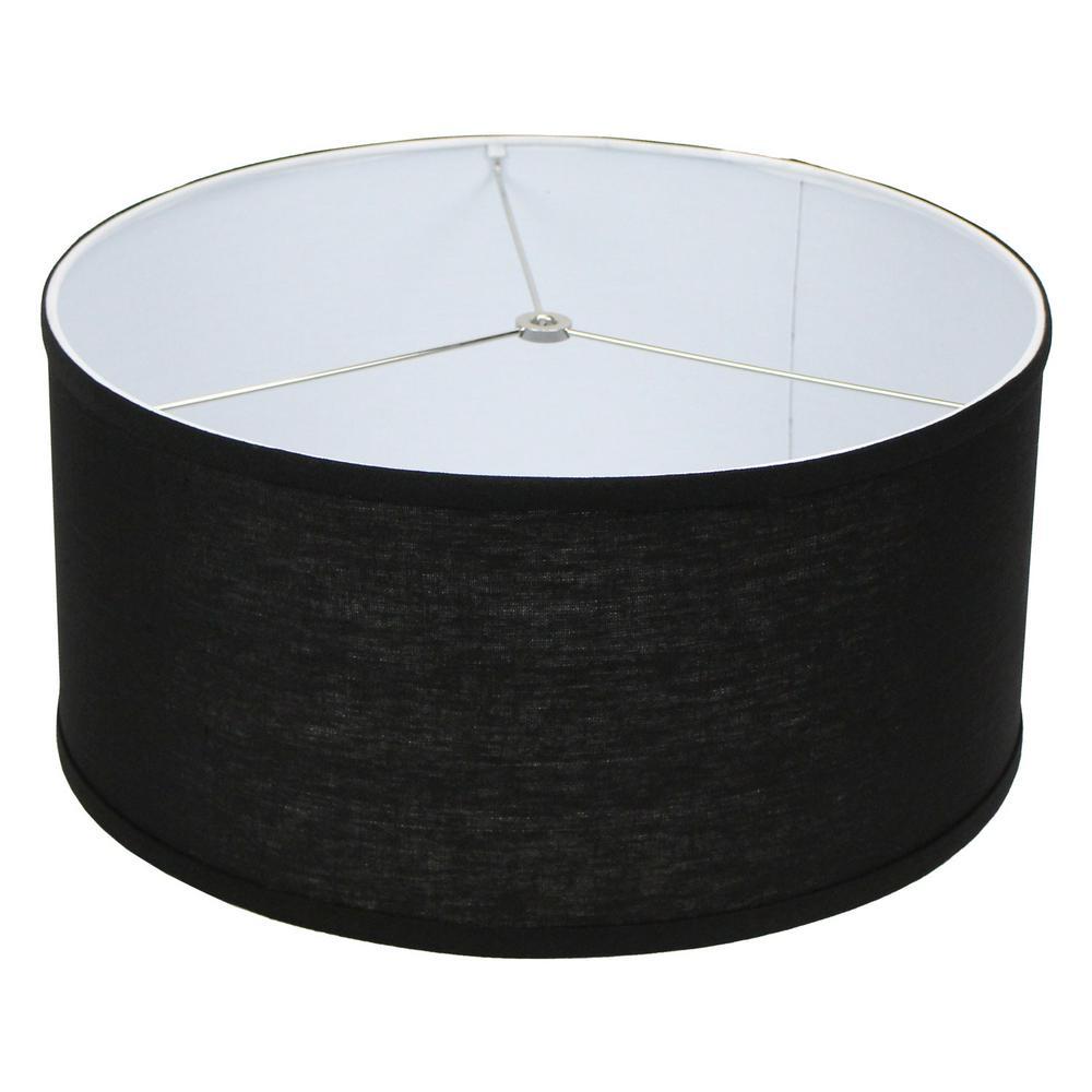 17 in. Top Diameter x 17 in. Bottom Diameter x 8 in. H Designer Linen Black Drum Lamp Shade