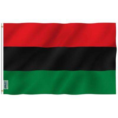 Fly Breeze 3 ft. x 5 ft. Polyester Afro American Flag 2-Sided Banner with Brass Grommets and Canvas Header