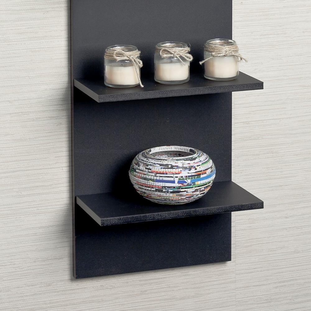 Black Grain Finish Mdf Wide Column Wall Shelf Ff5120 The Home Depot
