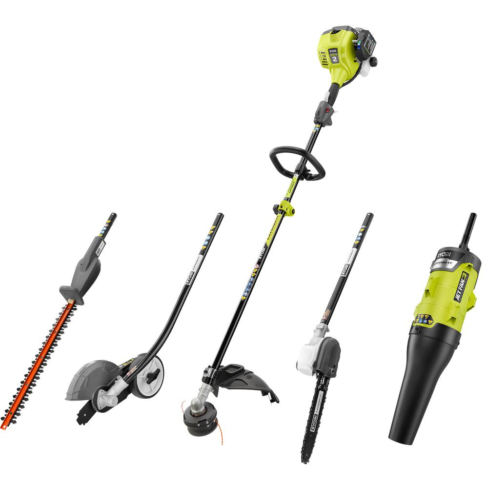 RYOBI - 25 cc Gas 2-Cycle Attachment Capable Full Crank Straight Shaft String Trimmer and Ultimate Attachment Kit