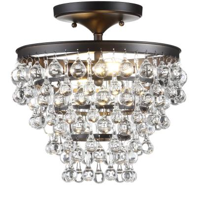 Toronto 13 in. Metal/Crystal LED Oil Rubbed Bronze Flush Mount