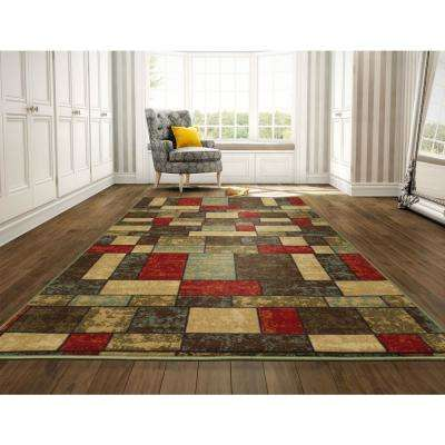 Ottohome Collection Contemporary Boxes Design Multi 8 ft. x 10 ft. Area Rug