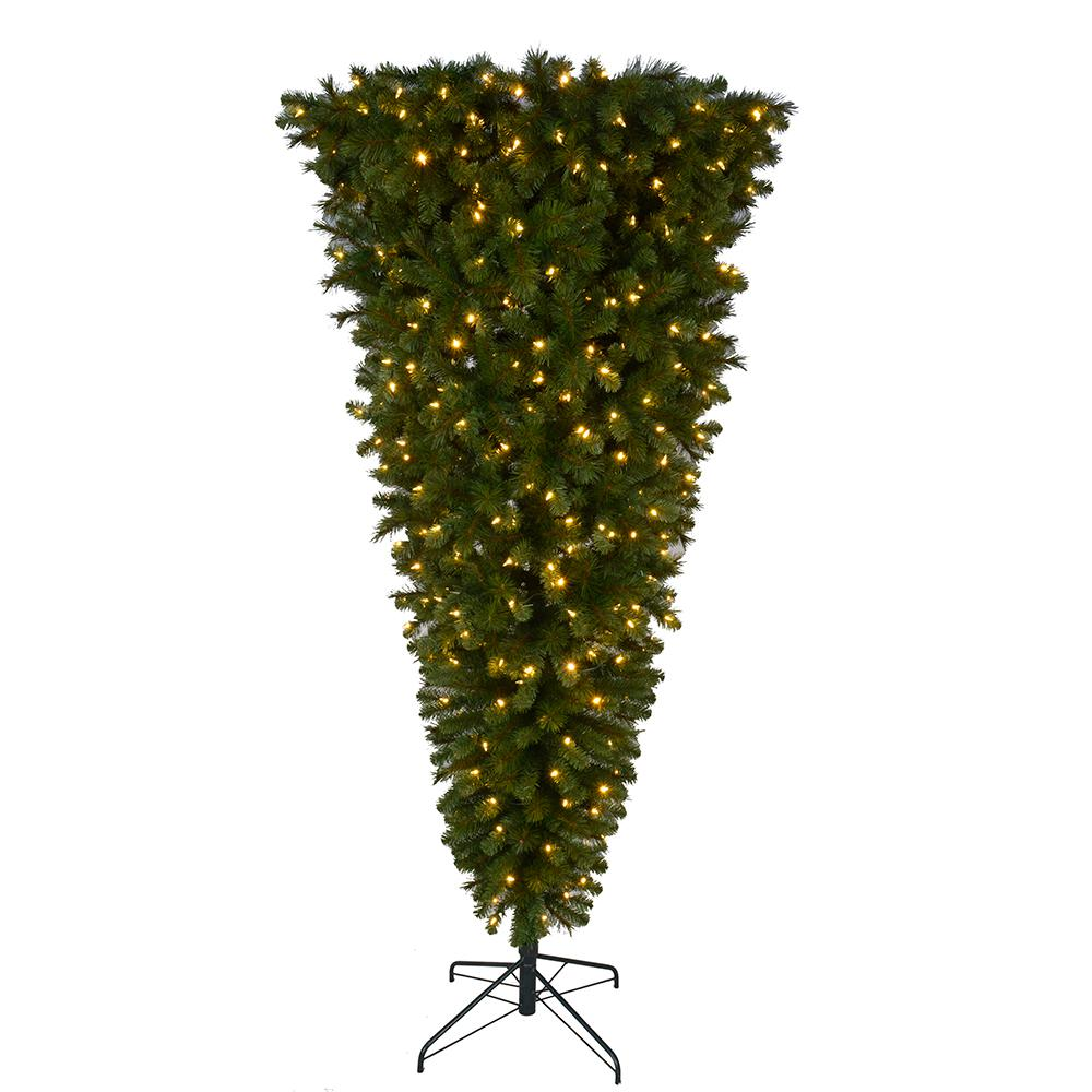Why Upside Down Christmas Tree: Home Accents Holiday 7 Ft. Pre-Lit LED Wesley Upside Down