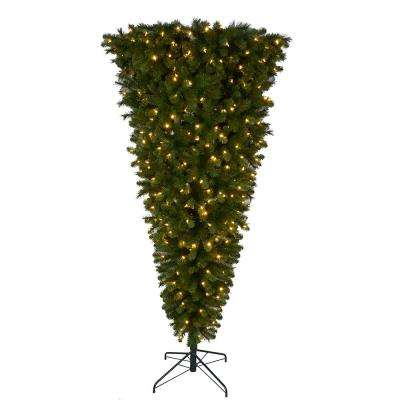 pre lit led wesley upside down spruce artificial christmas tree with 420 - Upside Down Christmas Tree Decorated