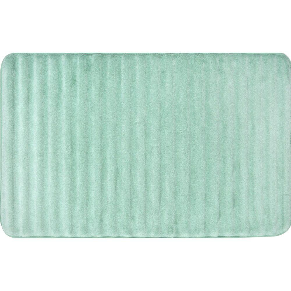 Spa Retreat 3D Caribbean Blue 21 in. x 34 in. Memory Foam Bath Mat