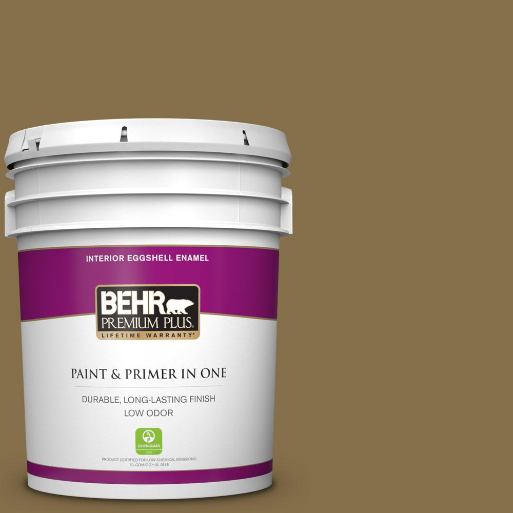 Behr Premium Plus 5 Gal 370f 7 Pinetop Eggshell Enamel Low Odor Interior Paint And Primer In One 230005 The Home Depot