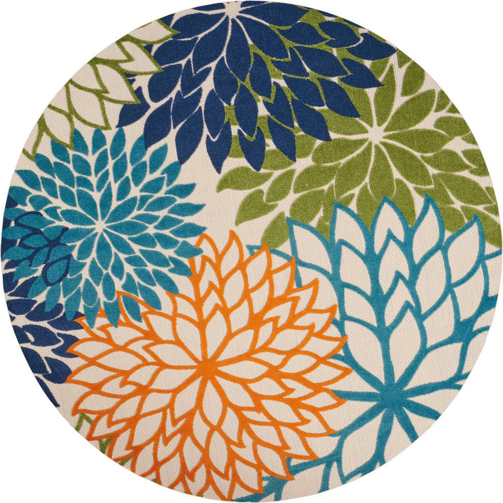 Nourison Aloha Multi 8 Ft X Indoor Outdoor Round Area Rug