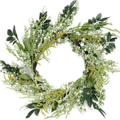 12 in. Unlit Green and Brown Decorative Mixed Berry Artificial Spring Floral Twig Wreath