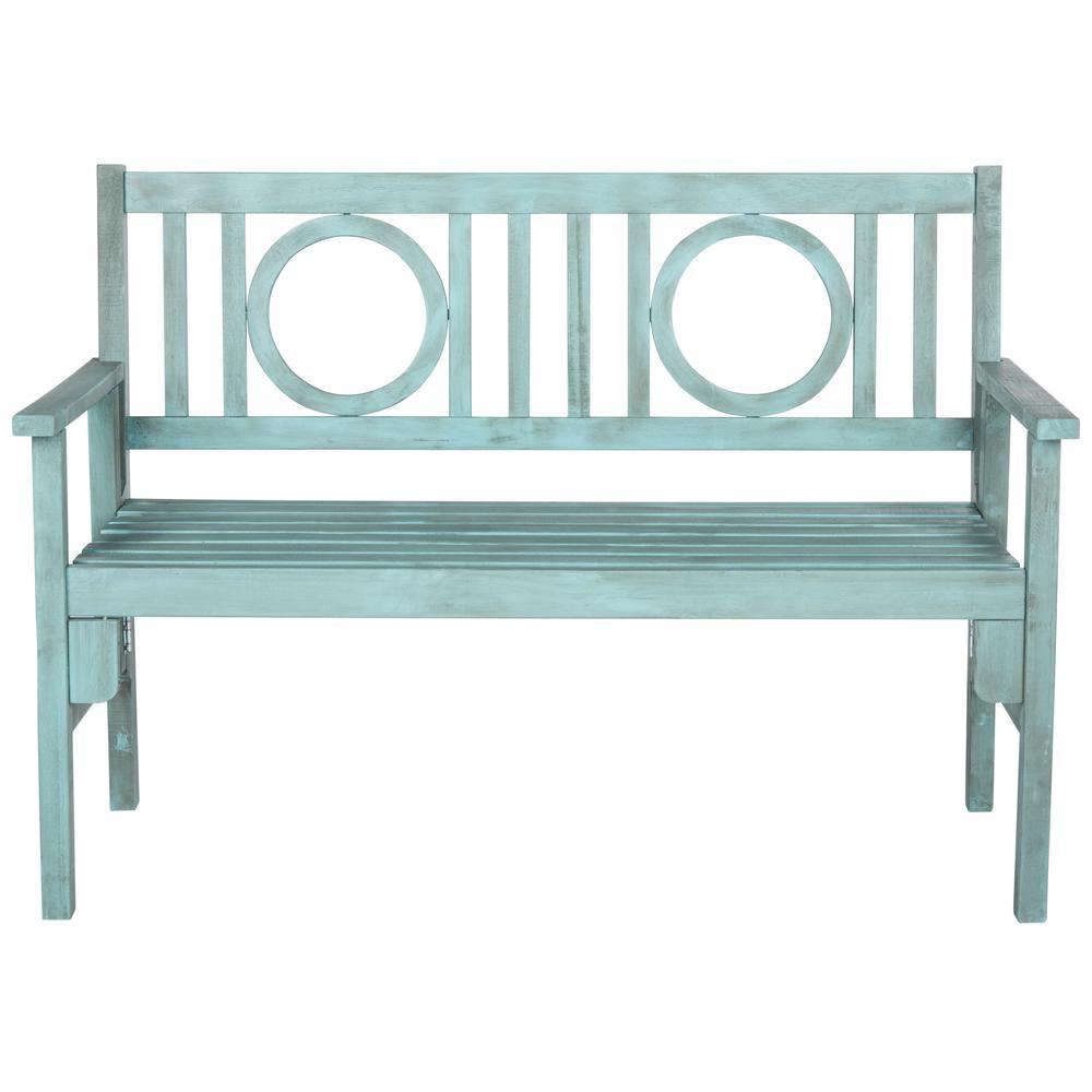 Surprising Safavieh Piedmont 2 Person Beach House Blue Wood Outdoor Bench Unemploymentrelief Wooden Chair Designs For Living Room Unemploymentrelieforg