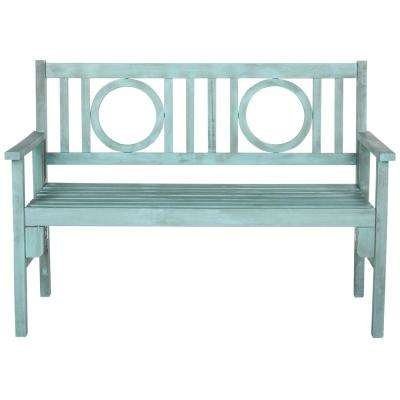 Piedmont 2-Person Beach House Blue Wood Outdoor Bench