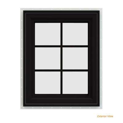 23.5 in. x 35.5 in. V-4500 Series Black Painted Vinyl Right-Handed Casement Window with Colonial Grids/Grilles