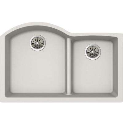 Quartz Luxe Undermount Composite 33 in. Rounded Offset Double Bowl Kitchen Sink in Ricotta