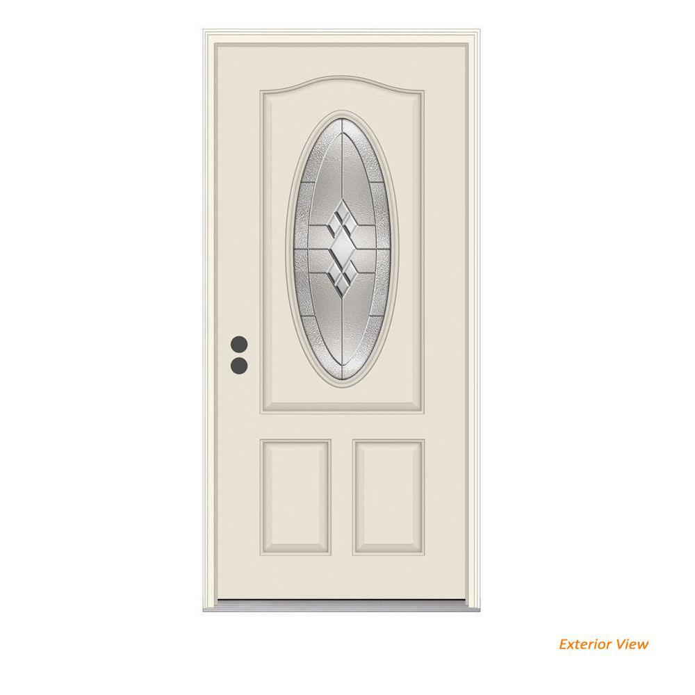 36 in. x 80 in. 3/4 Oval Lite Kingston Primed Fiberglass Prehung Right-Hand Inswing Front Door w/Brickmould