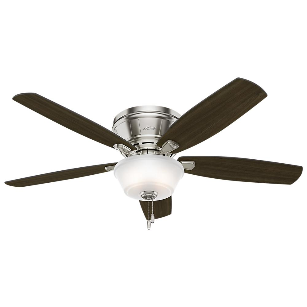 Hunter Estate Winds 56 In Indoor Brushed Nickel Low Profile Bowl Ceiling Fan 54164 The Home Depot