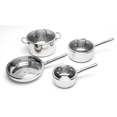 EarthChef Boreal 8-Piece Stainless Steel Cookware Set with Glass Lids