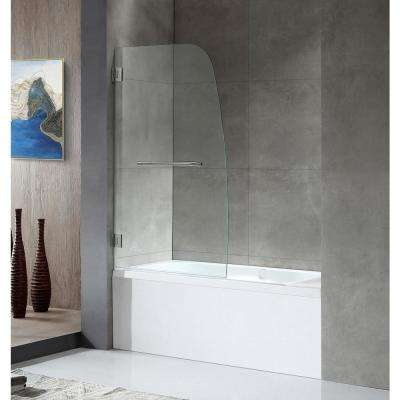 GRAND Series 34 in. x 58 in. Frameless Hinged Tub Door in Brushed Nickel with Towel Bar Handle