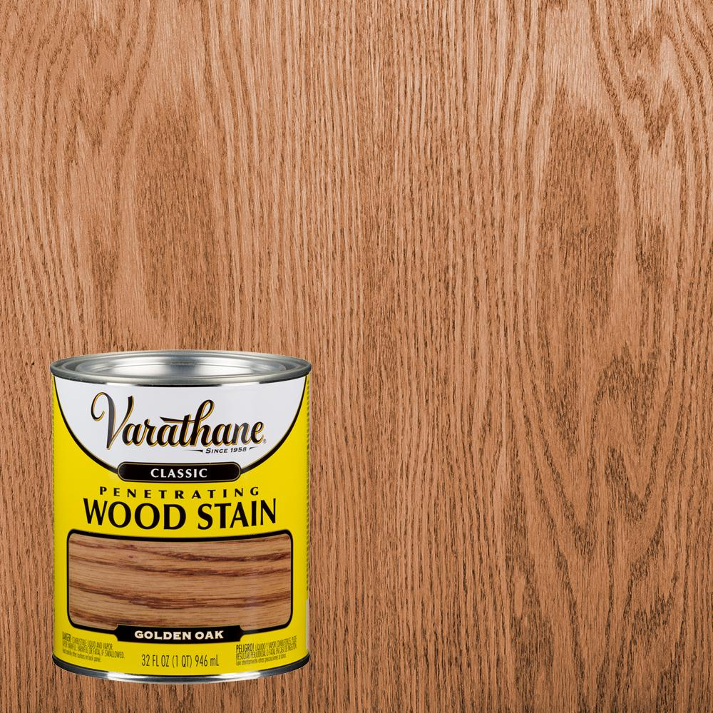 Varathane 1 Qt Golden Oak Classic Wood Interior Stain 339702 The Home Depot