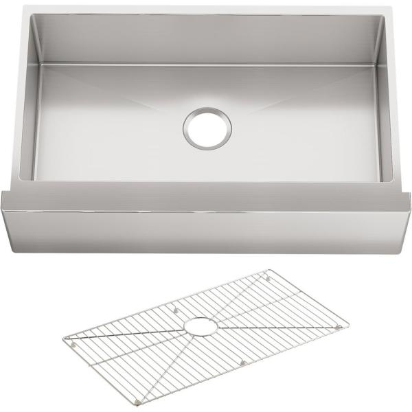 Strive Undermount Farmhouse Apron Front Stainless Steel 36 in. Single Basin Kitchen Sink with Basin Rack