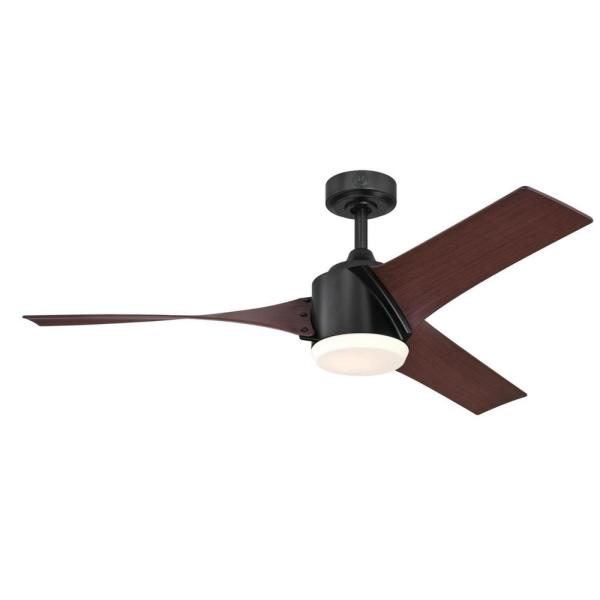 Evan 52 in. LED Matte Black Ceiling Fan with Light Fixture and Remote Control