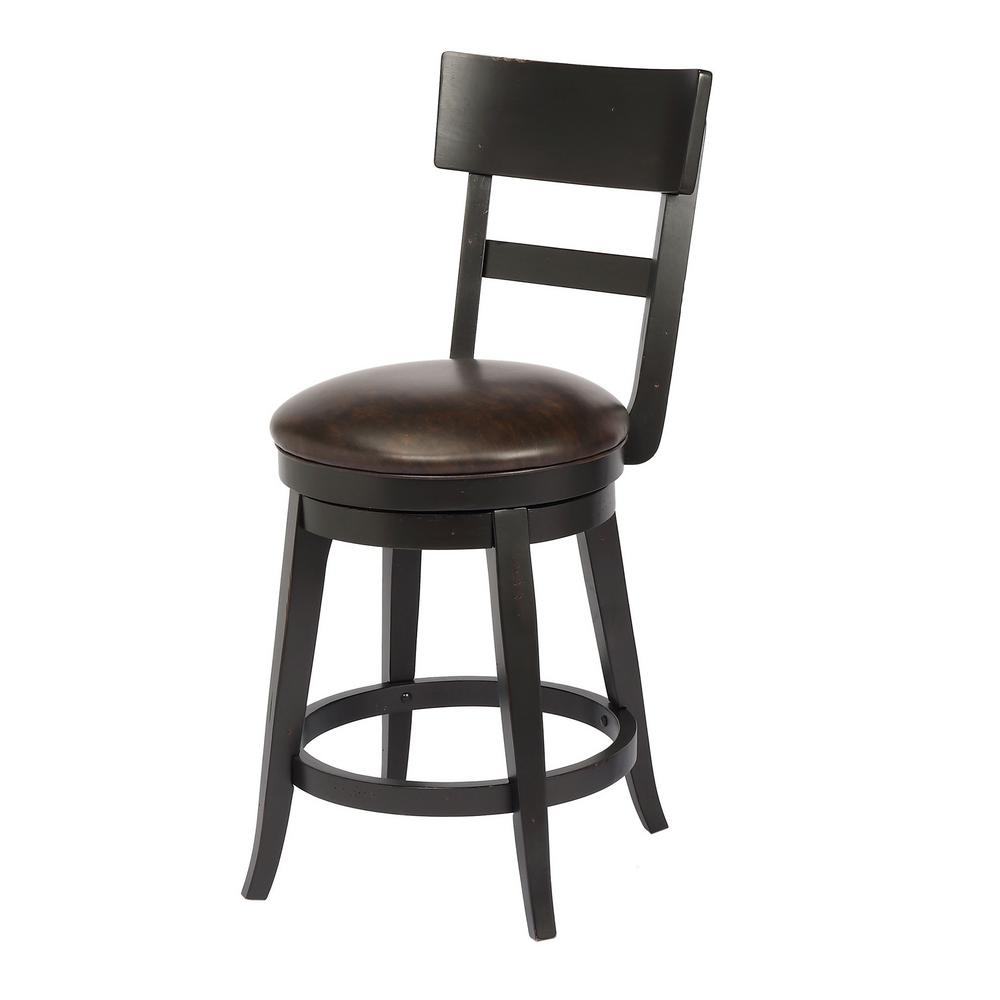 Alex 24 in. Black Counter Height Swivel Bar Stool (Individual)