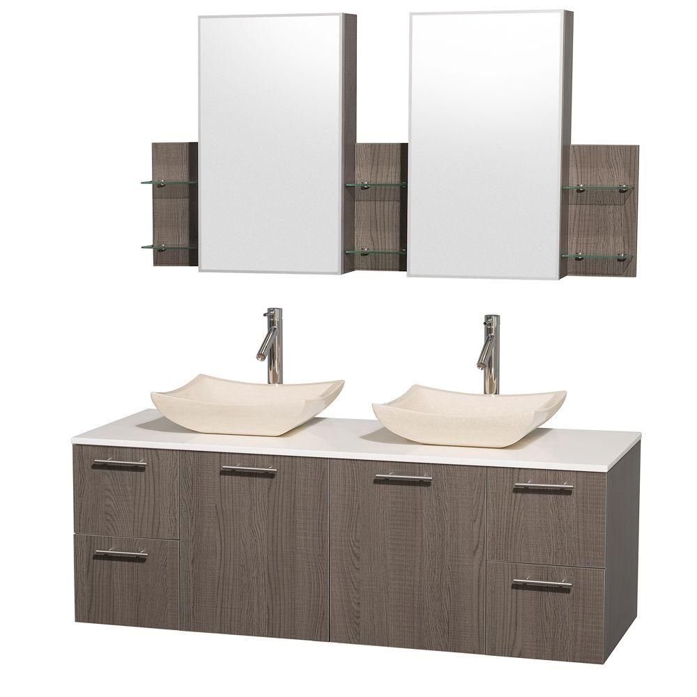 Amare 60 in. Double Vanity in Grey Oak with Man-Made Stone