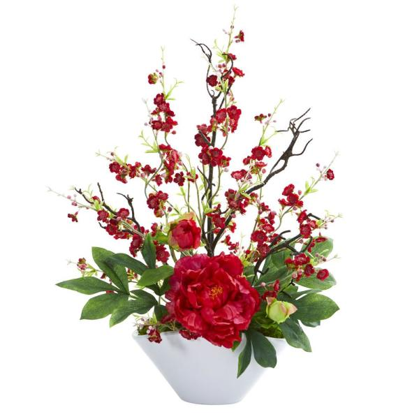 Nearly Natural Indoor Cherry Blossom and Peony Artificial Arrangement 1741-RD
