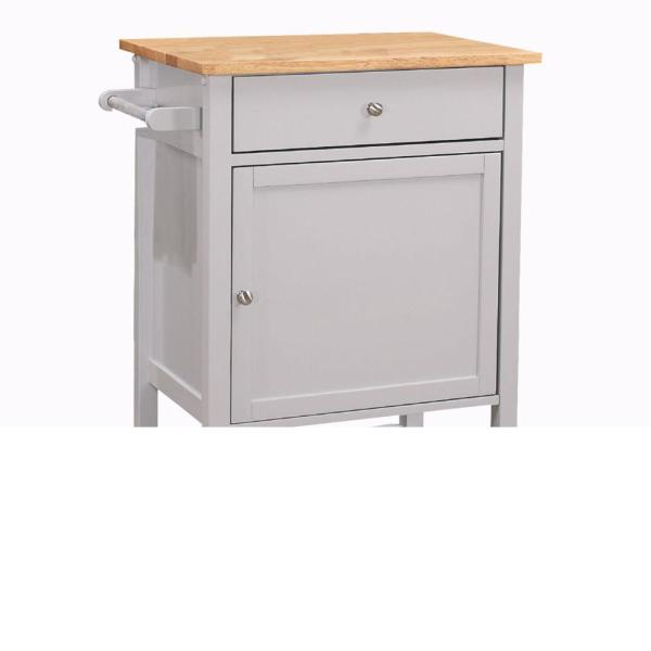 Natural Brown and Gray Kitchen Cart with Wooden Top