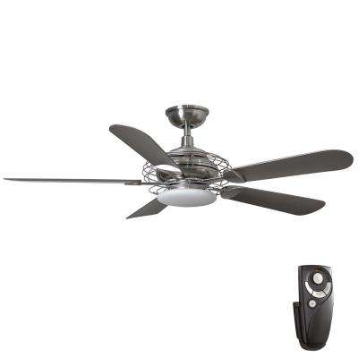Vercelli 52 in. Integrated LED Indoor Brushed Nickel Ceiling Fan with Light Kit and Remote Control
