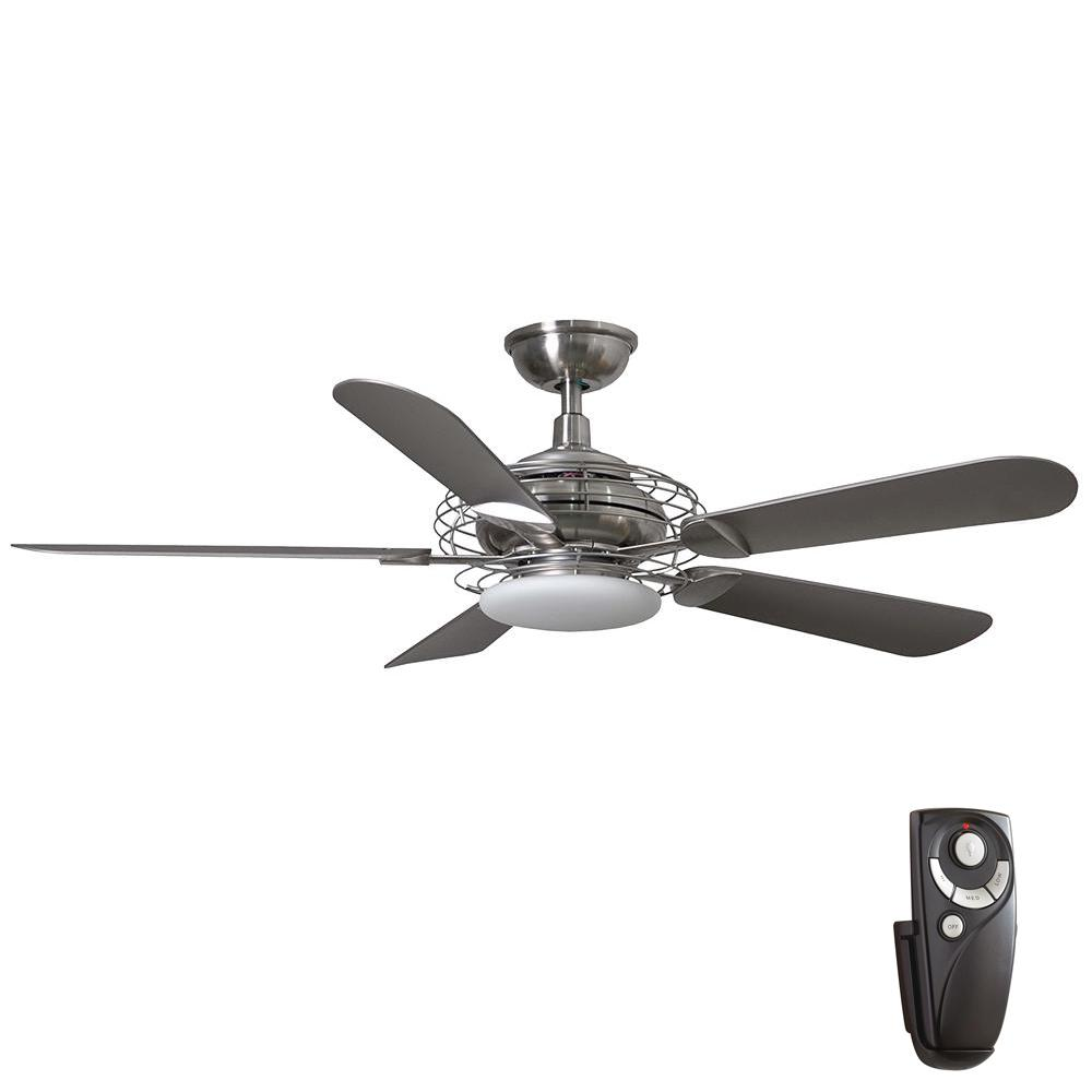 Vercelli 52 in. Integrated LED Indoor Brushed Nickel Ceiling Fan with