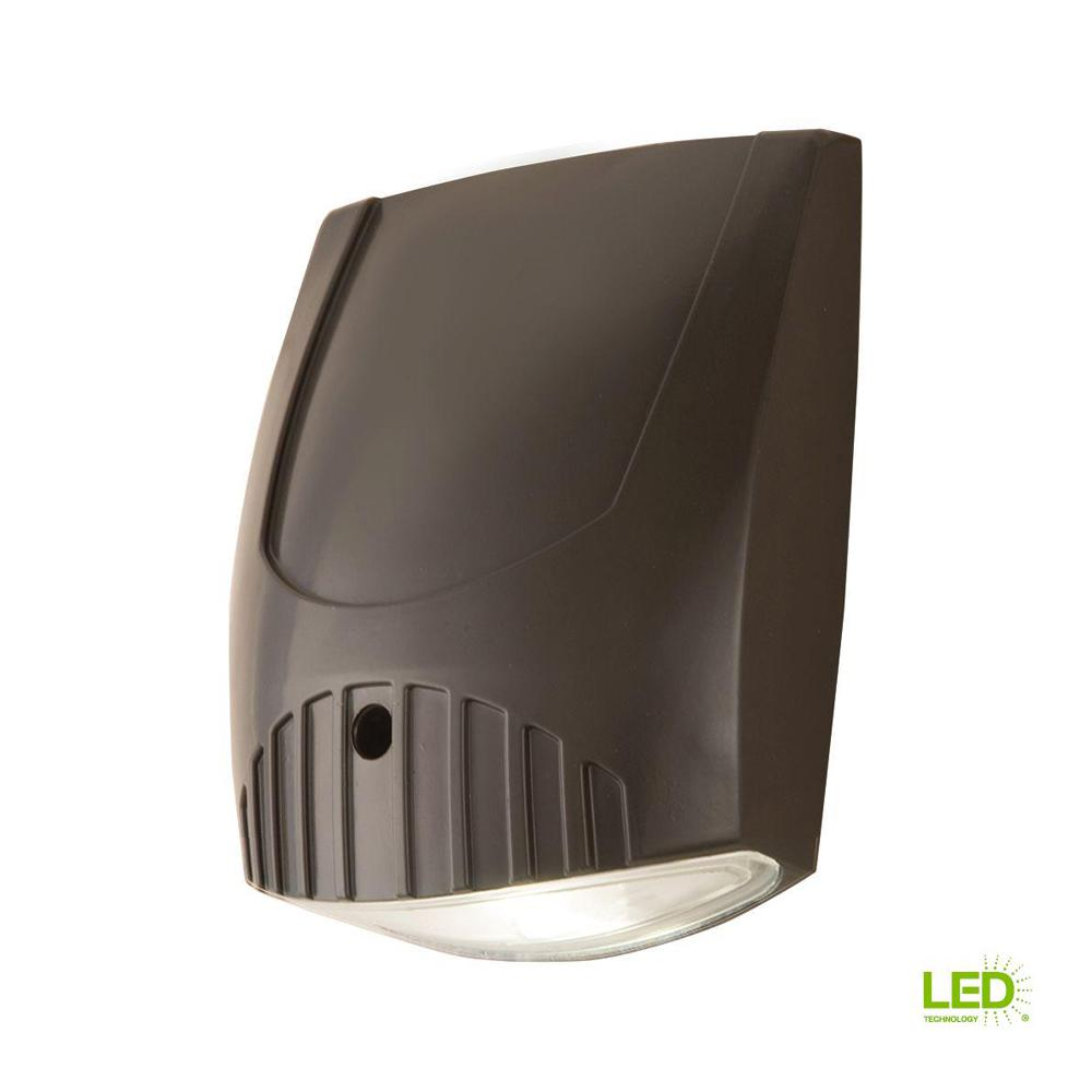 Bronze Integrated LED Outdoor Wall Pack Light with 1600 Lumens, 5000K